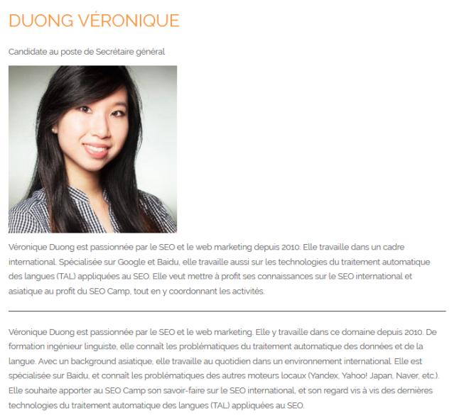 Candidature au poste de Secrétaire Général au Conseil d'Administration du SEO Camp - Véronique Duong - AUTOVEILLE