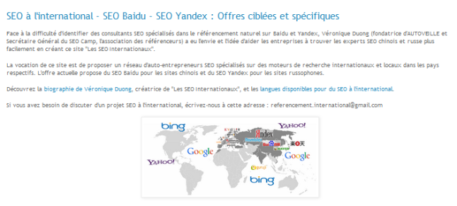 Les SEO Internationaux - SEO Baidu SEO Yandex - AUTOVEILLE